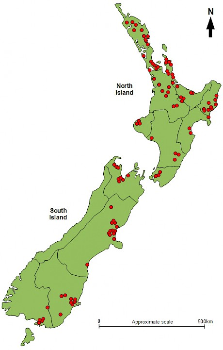 Location of planted stands of native trees and shrubs assessed nationwide by Tāne's Tree Trust.